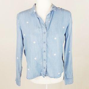 Cloth & Stone Polka Dot Button Chambray Top XS
